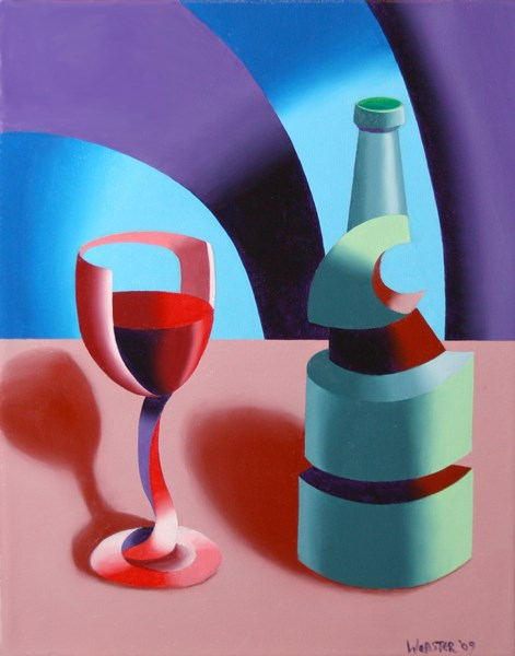 """Mark Webster - Abstract Futurist Wine with Bottle Still Life Oil Painting"" original fine art by Mark Webster"