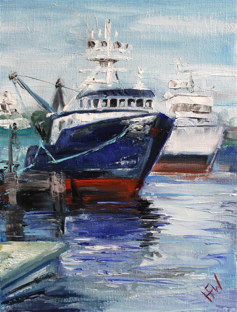 """Fishing Boats"" original fine art by H.F. Wallen"