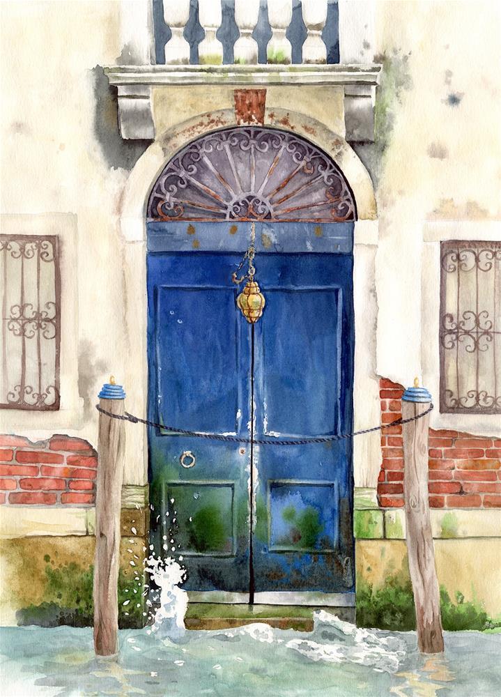 """Blue Door, on the Canal Grande, Venice, Italy "" original fine art by Olga Beliaeva"