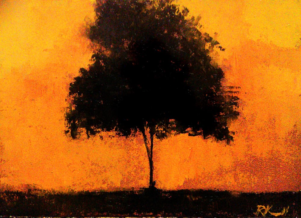 """Tree and Yellow Sky"" original fine art by Bob Kimball"