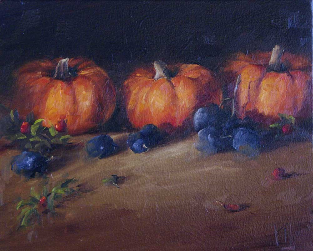 """Mini Pumpkins"" original fine art by Lori Twiggs"