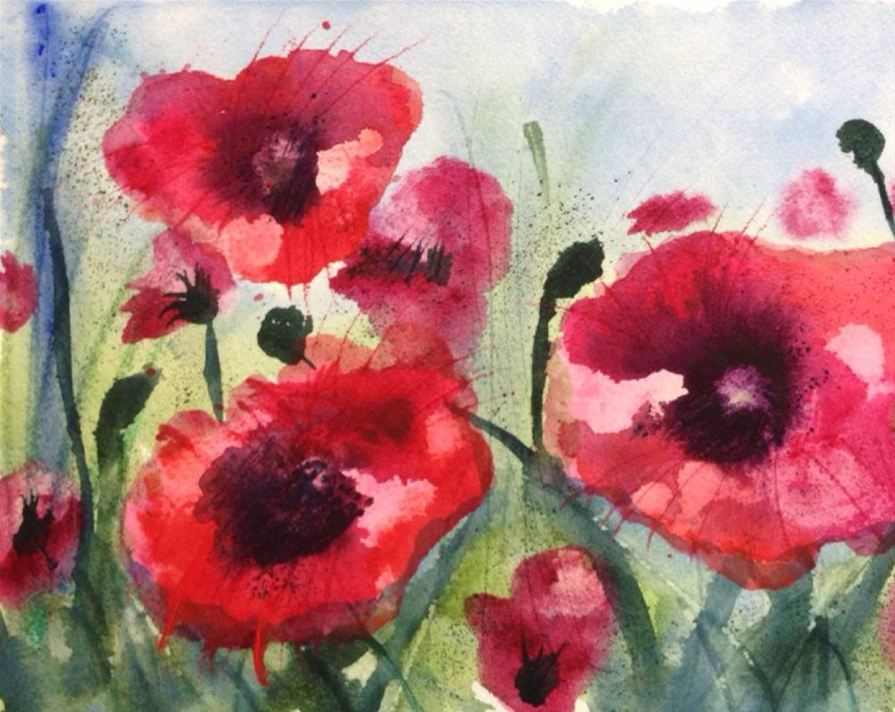 """Field of Poppies"" original fine art by Maria Peagler"