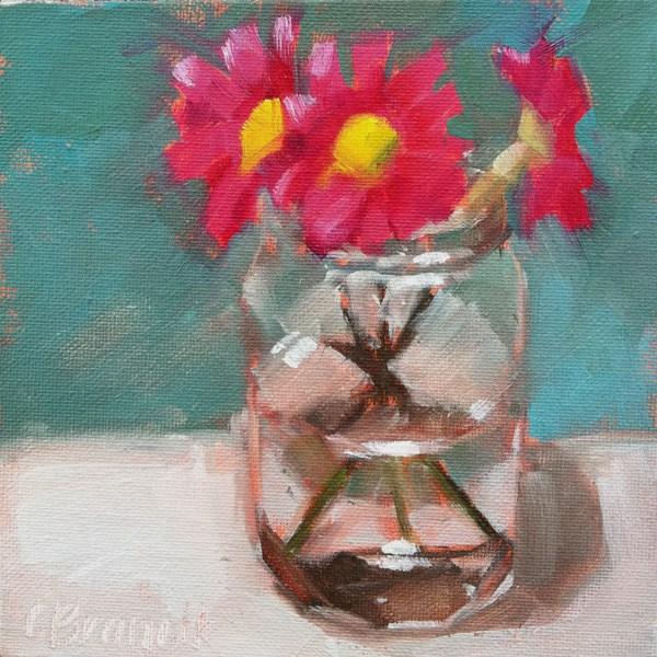 """Pink Daisies"" original fine art by Candace Brancik"