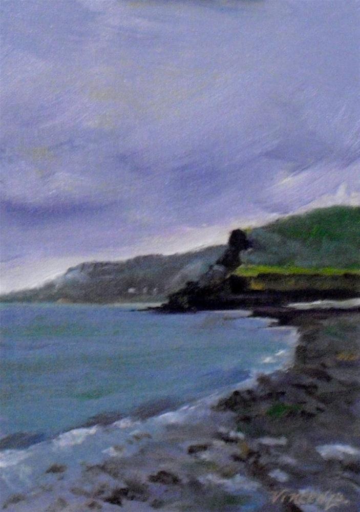 """Gower Peninsula~ 5x7 ~ oil on linen"" original fine art by Vincenza Harrity"