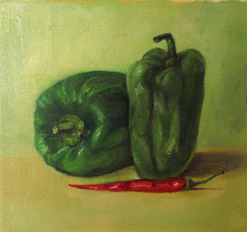 """Still life with capsicum"" original fine art by Asha Shenoy S"