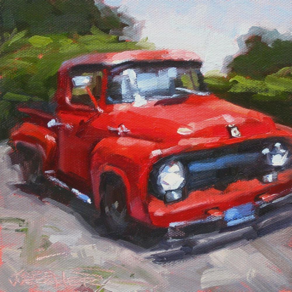 """""""Red Truck"""" original fine art by Karen Werner"""