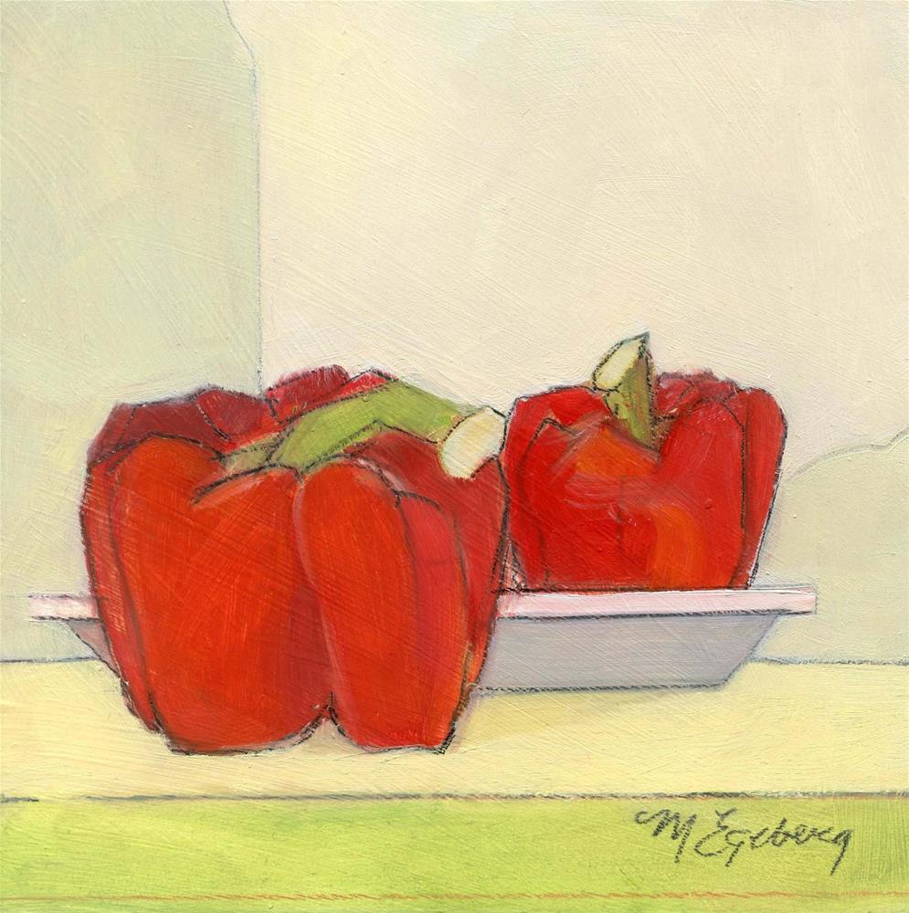 """Red Peppers and Plate"" original fine art by Mitch Egeberg"