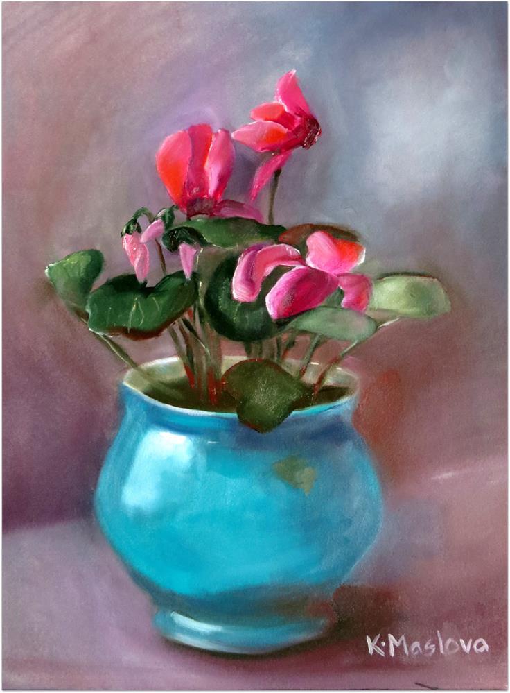 """Cyclamen"" original fine art by Kulli Maslova"