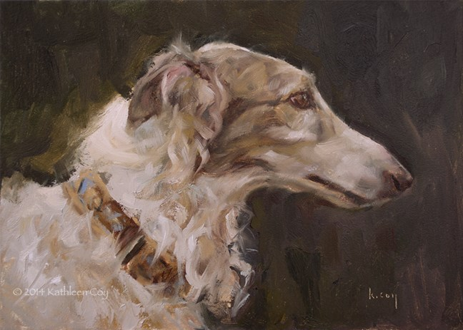 """Day 33 - Borzoi"" original fine art by Kathleen Coy"