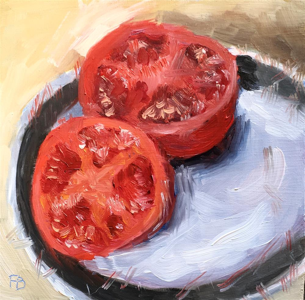 """099 Cut Tomato"" original fine art by Fred Bell"