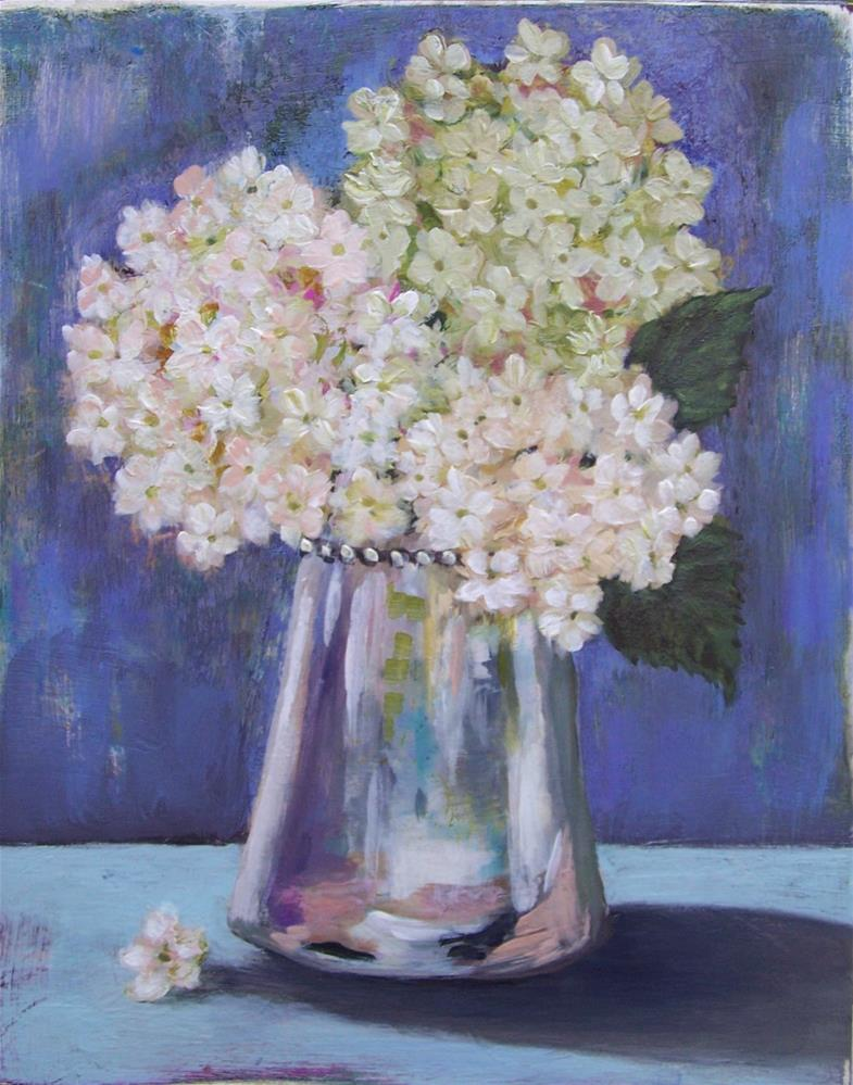 """Hydrangeas in Mercury Glass Vase"" original fine art by Joan Matero"