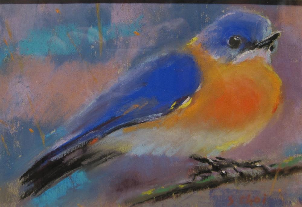 """A blue bird morning"" original fine art by Sunkyung Choi"