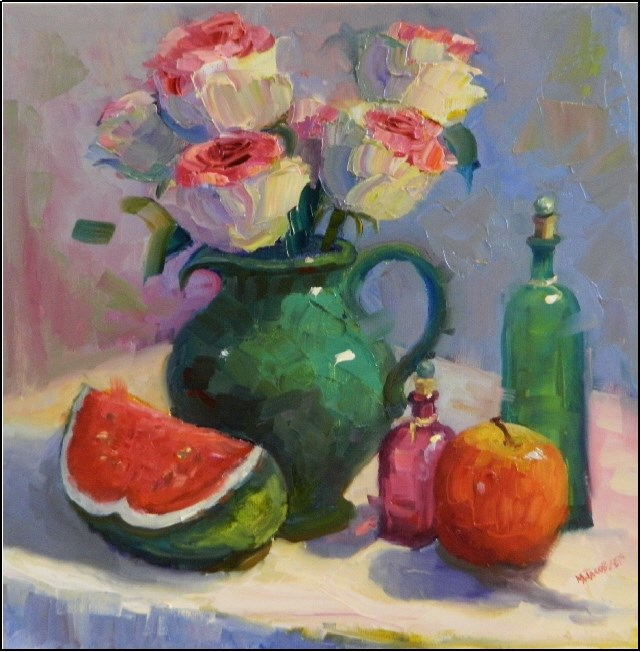 """Esperanza Roses and Watermelon, 16x16, oil on wrapped canvas, esperanza rose, hybrid rose, white,"" original fine art by Maryanne Jacobsen"
