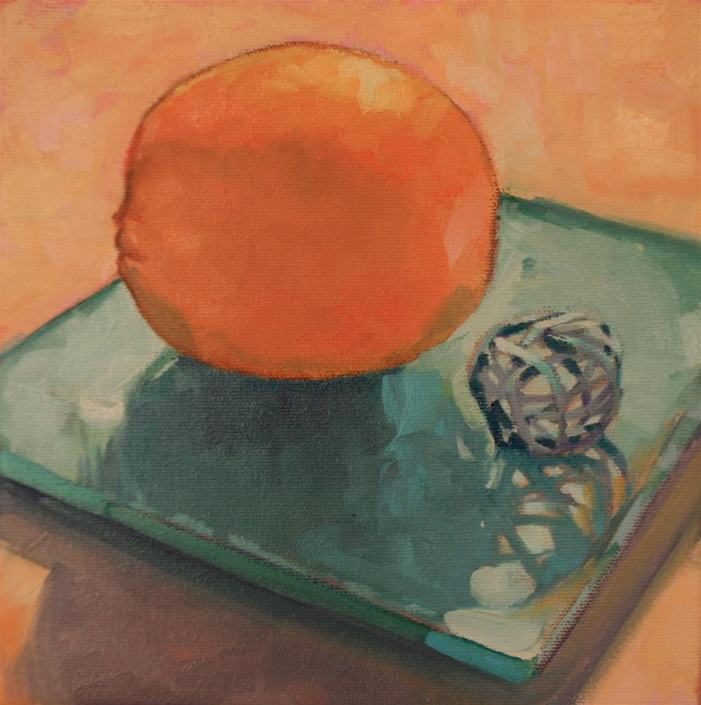"""Orange on Tourquoise"" original fine art by Jane Robertson"