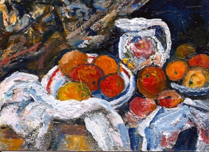 """""""ACEO Cezanne Style Still Life Pitcher and Fruit Miniature Masters Penny StewArt"""" original fine art by Penny Lee StewArt"""