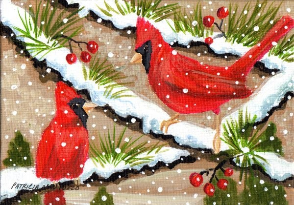 """Cardinals in the Snow"" original fine art by Patricia Ann Rizzo"
