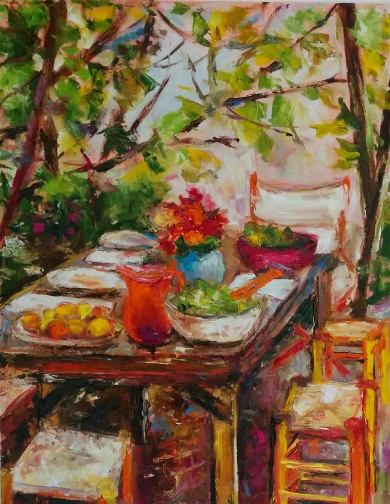 """Dining al Fresco"" original fine art by pepa sand"