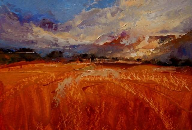 """Stubble at Sunset"" original fine art by Anne Wood"