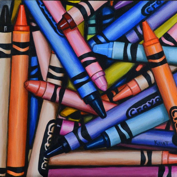 """Crayon Pile 3 - Commission"" original fine art by Kim Testone"