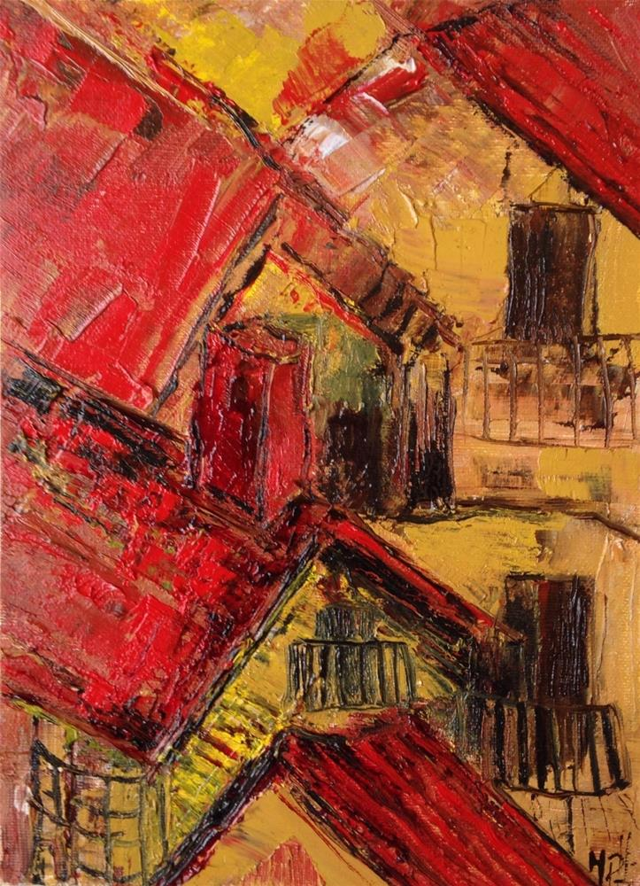 """Red roofs"" original fine art by Monica Pinotti"