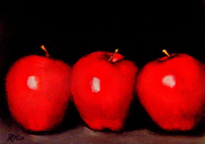 """Three Apples"" original fine art by Bob Kimball"