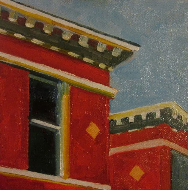 """Edward Hopper Rooftops"" original fine art by Mary Sheehan Winn"