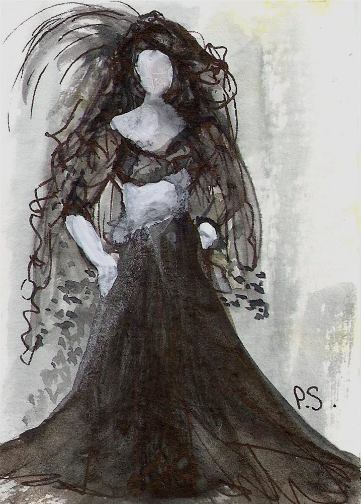 """ACEO Little Black Dress Gone Goth Party Time by Penny StewArt"" original fine art by Penny Lee StewArt"