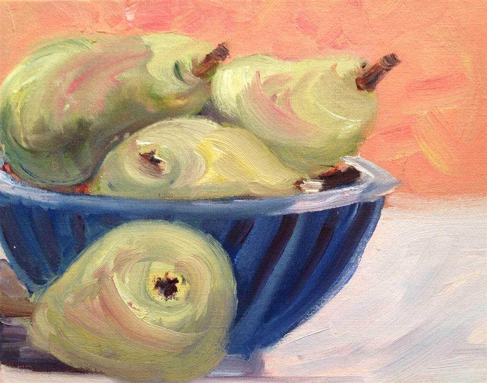 """""""Pears in Blue Pottery"""" original fine art by Debra Kennedy"""