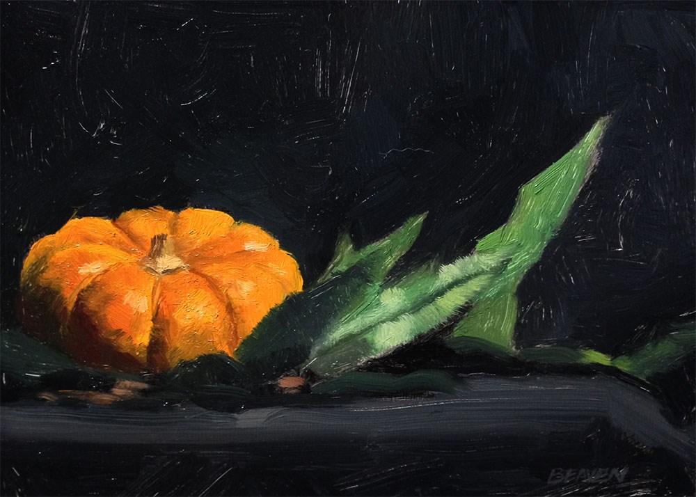 """Pumpkin and Leaves"" original fine art by Chris Beaven"