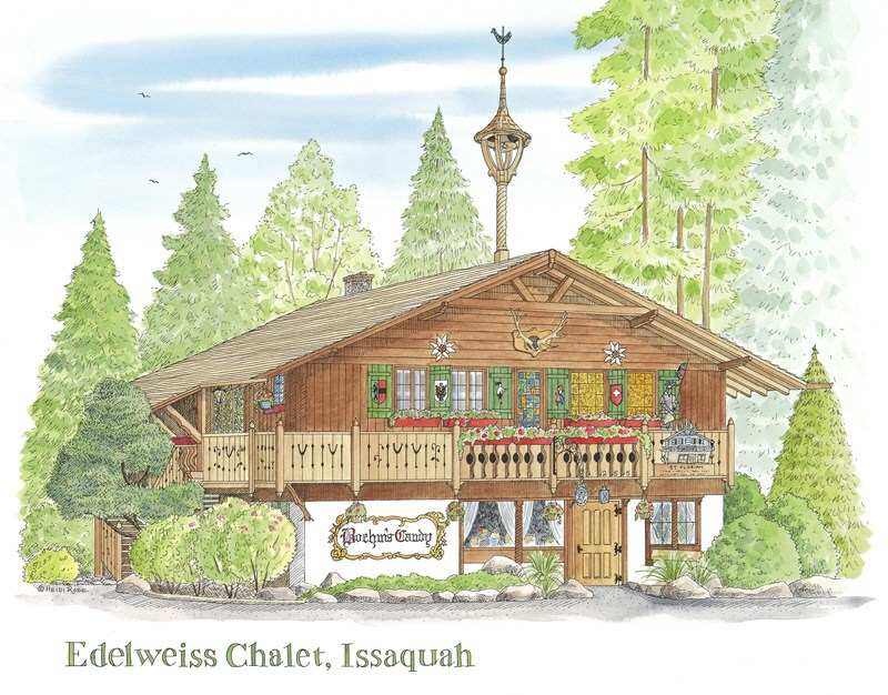 """The Edelweiss Chalet"" original fine art by Heidi Rose"