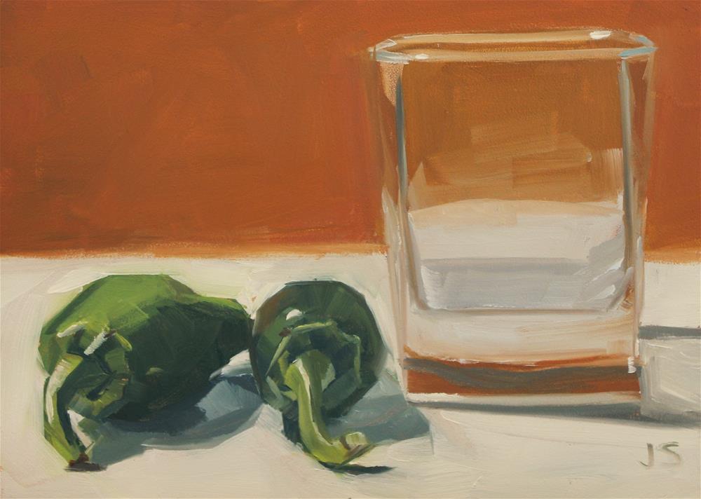 """Two Jalapeños and Glass"" original fine art by Jamie Stevens"