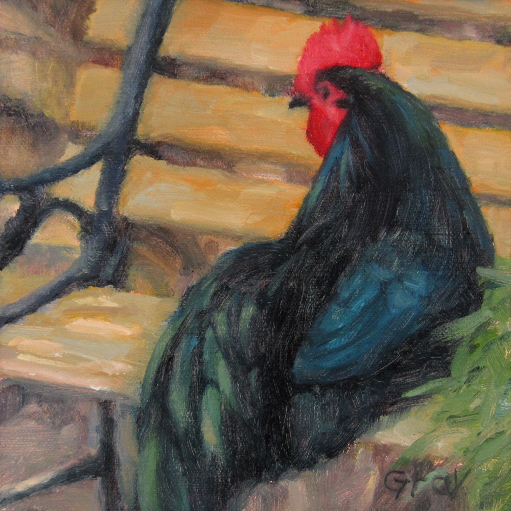 """Rooster on the Bench"" original fine art by Naomi Gray"