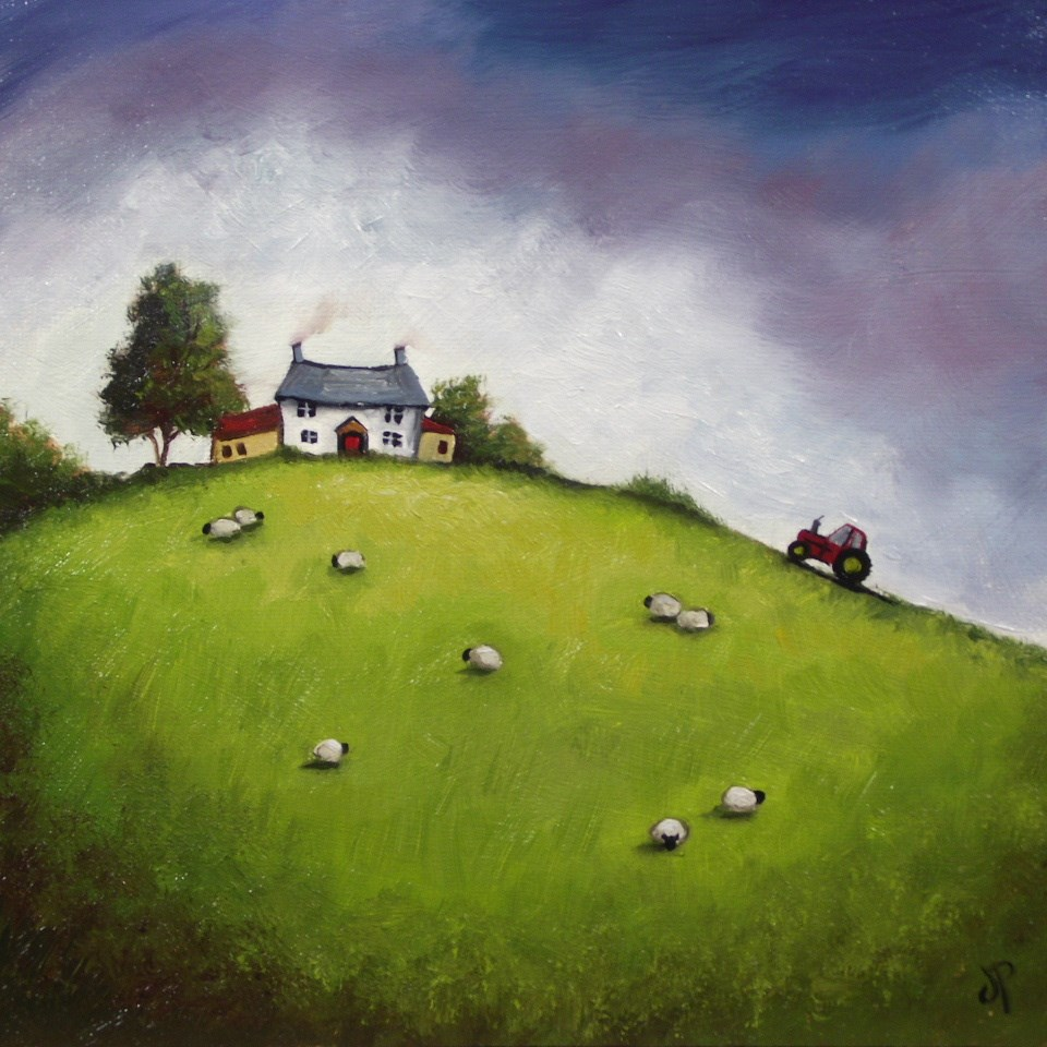 """Farmhouse and Tractor"" original fine art by Jane Palmer"