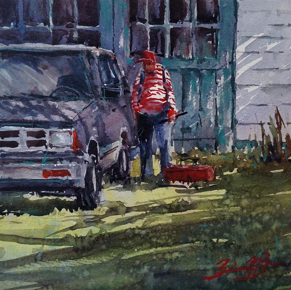 """Working on the Old Blazer"" original fine art by Brienne M Brown"