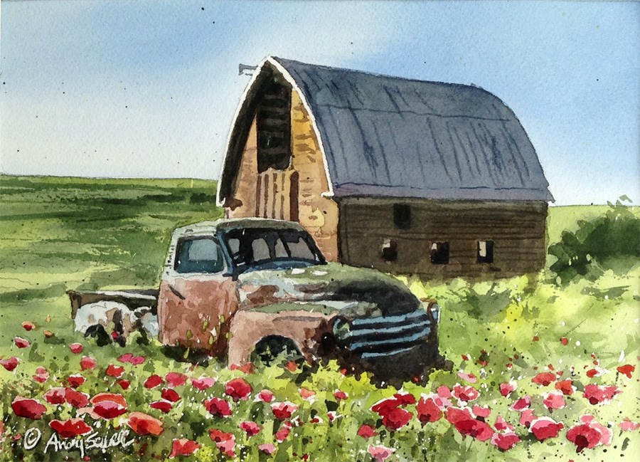 """Chevy in the Poppies"" original fine art by Andy Sewell"