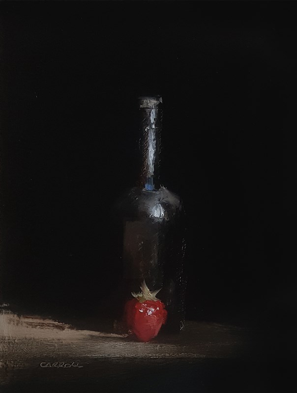 """Bottle with Strawberry"" original fine art by Neil Carroll"