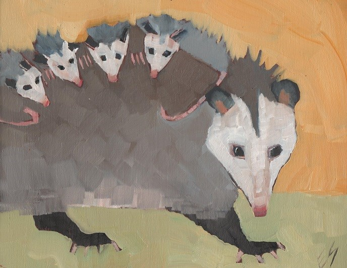 """The Opossum Factory"" original fine art by Elizabeth See"