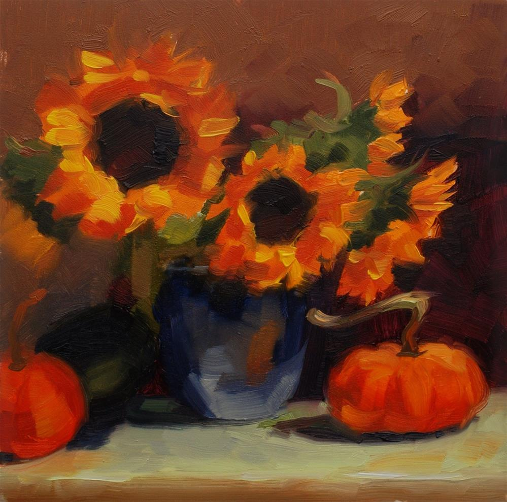 """No. 506 Sunflowers with Pumpkins"" original fine art by Susan McManamen"