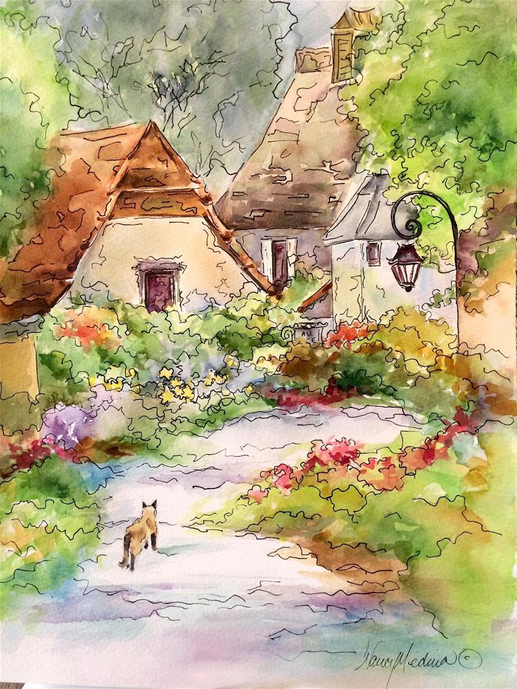 """Looking for Love - Romantic Kitty Watercolor in France - Nancy Medina Art"" original fine art by Nancy Medina"