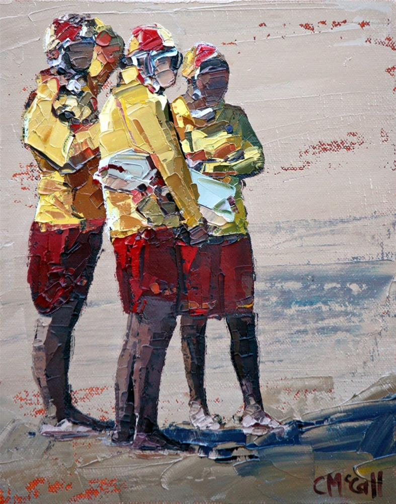 """Three Lifeguards"" original fine art by Claire McCall"