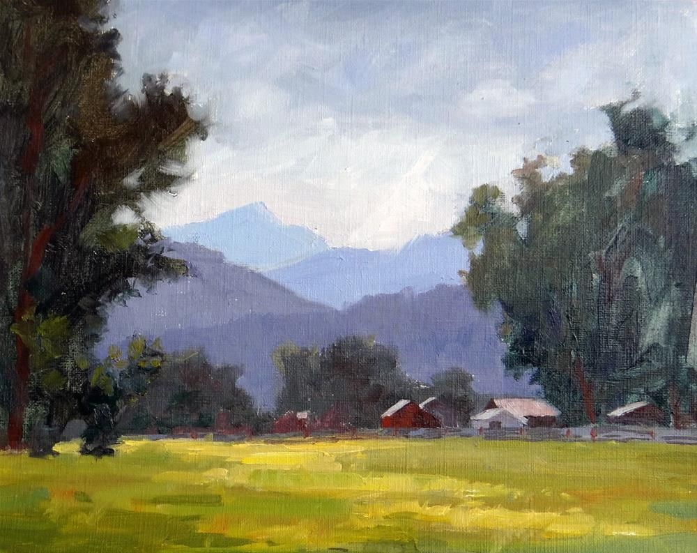 """Red Barn in the Valley"" original fine art by Nancy Paris Pruden"