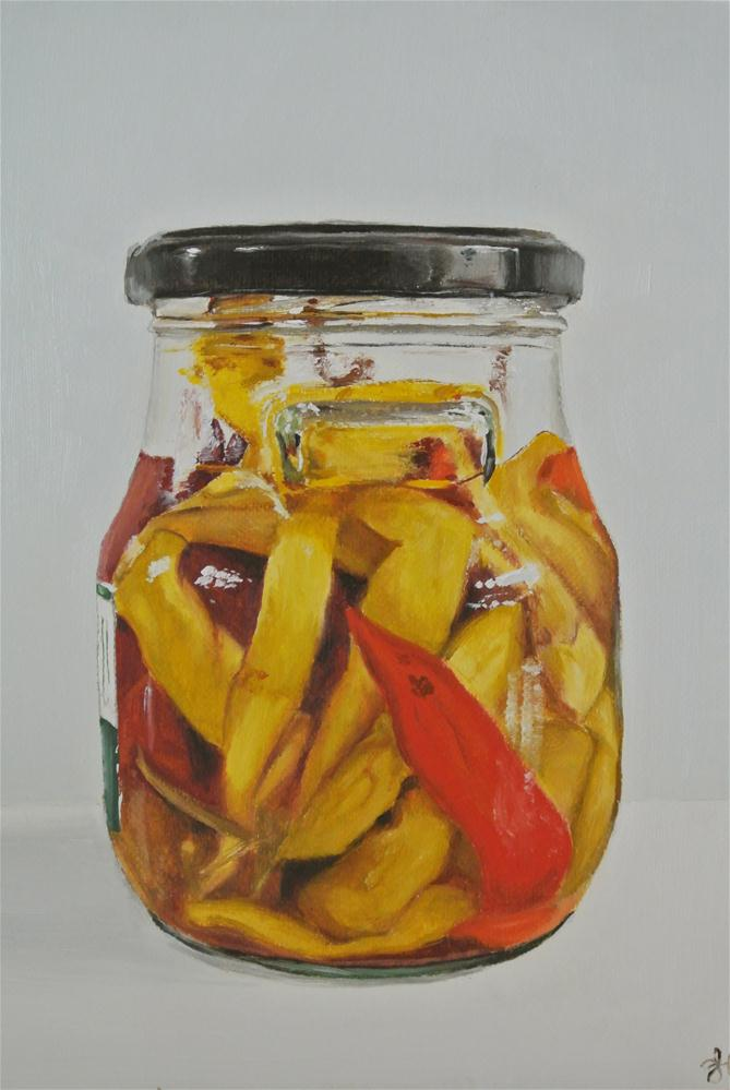 """Jar of Chillies"" original fine art by James Coates"