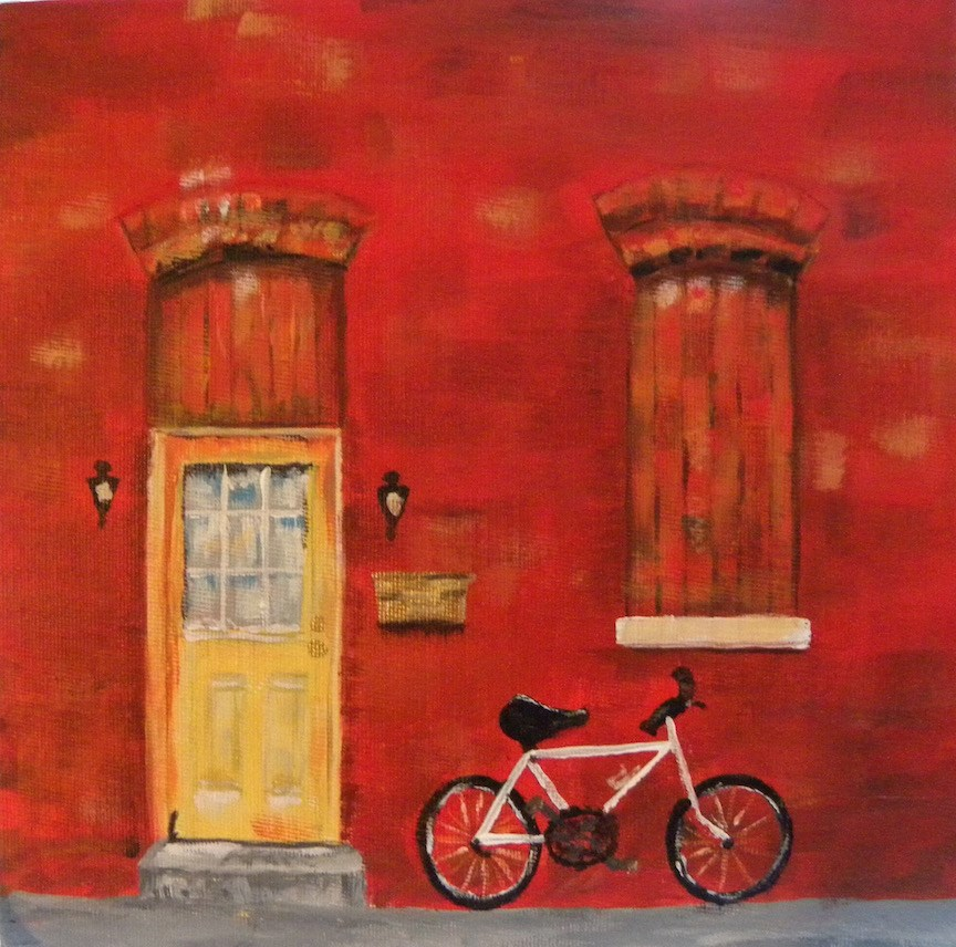 """White Bike"" original fine art by cheryl buhrman"