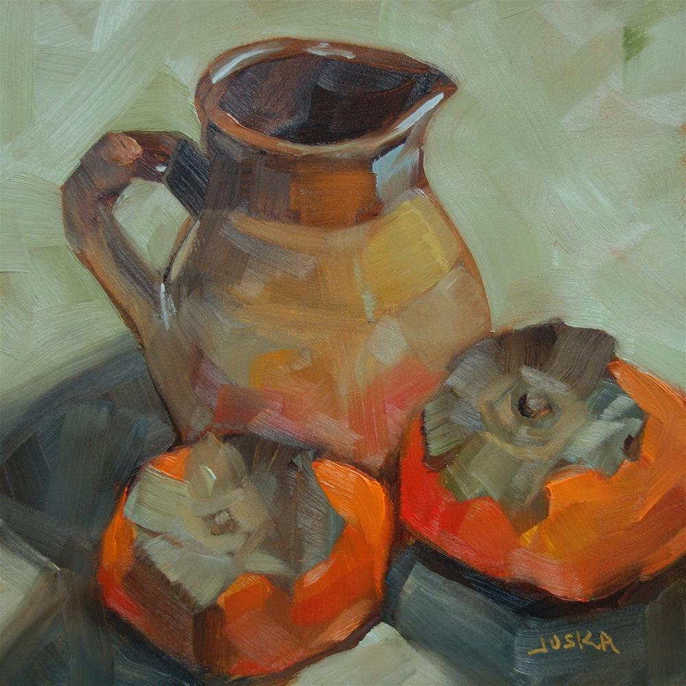 """Persimmon and Pitcher"" original fine art by Elaine Juska Joseph"