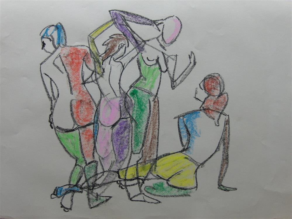 """Gestural group of women"" original fine art by Arron McGuire"