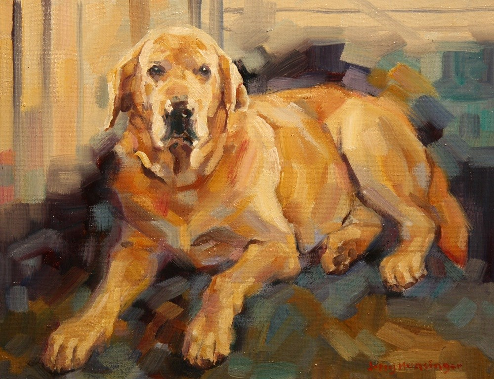 """Yellow Labrador Retriever"" original fine art by jerry hunsinger"
