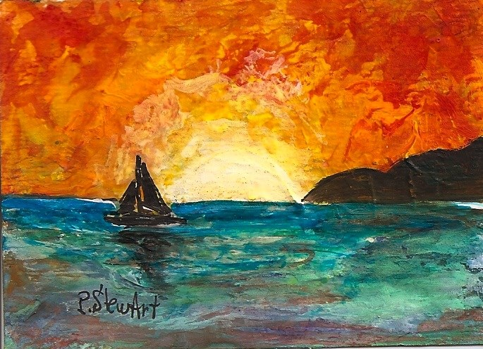 """ACEO Sailboat Sunset Ocean Cliffs Mixed Media Painting SFA Penny StewArt"" original fine art by Penny Lee StewArt"