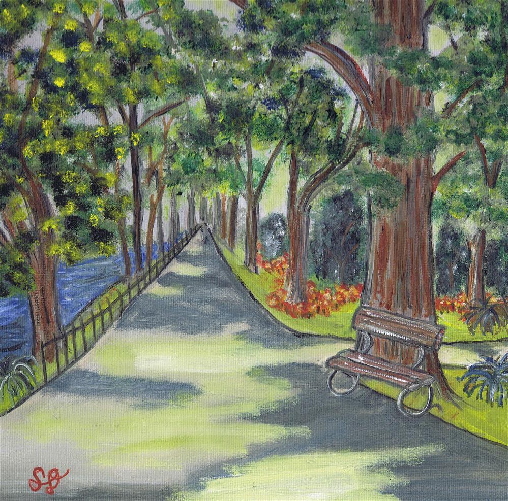 """Trees with Shadow Park"" original fine art by Samara Doumnande"