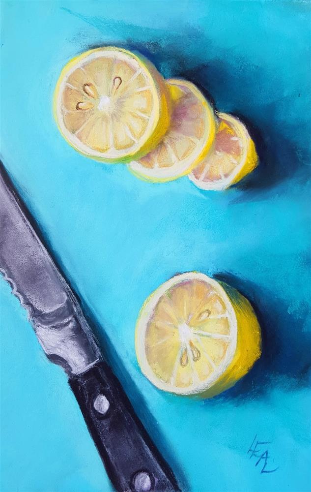 """Citrus on Cerulean"" original fine art by Anna Lisa Leal"