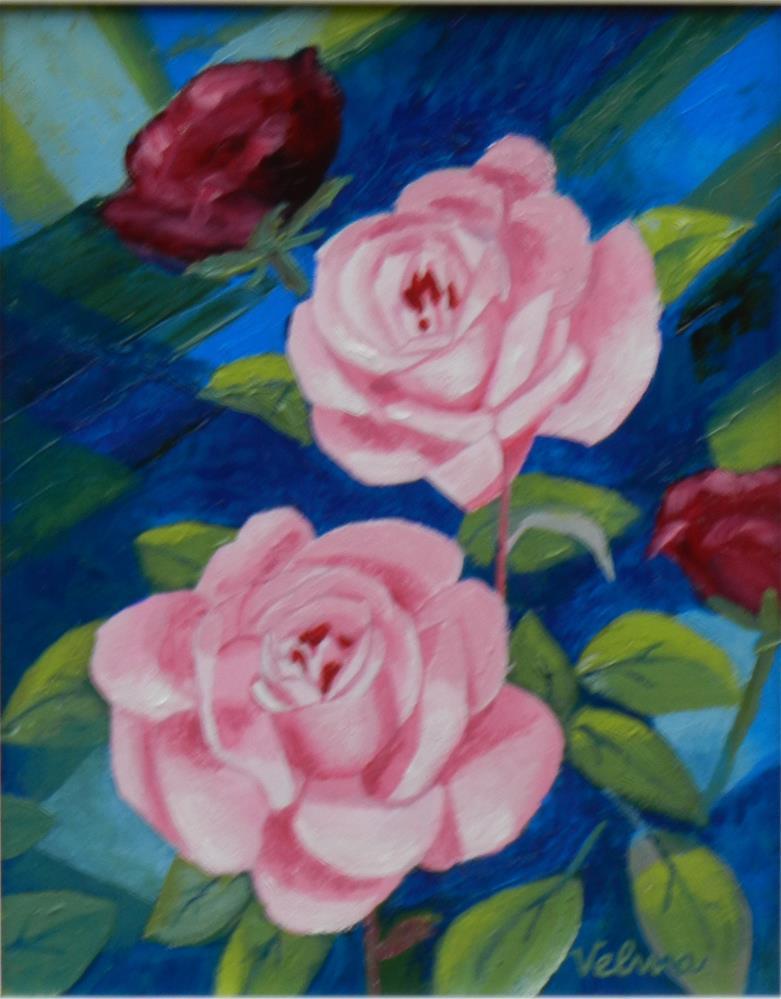 """Pink Roses 1"" original fine art by Velma Davies"